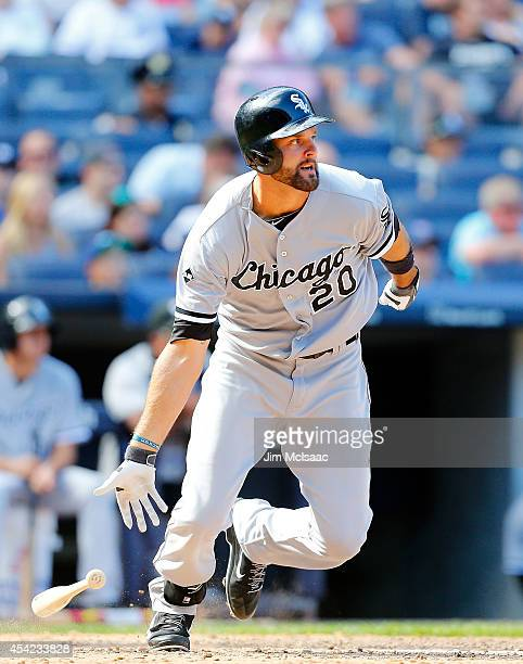 Jordan Danks of the Chicago White Sox in action against the New York Yankees at Yankee Stadium on August 24 2014 in the Bronx borough of New York...
