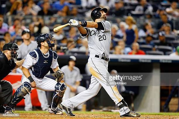 Jordan Danks of the Chicago White Sox in action against the New York Yankees at Yankee Stadium on August 22 2014 in the Bronx borough of New York...