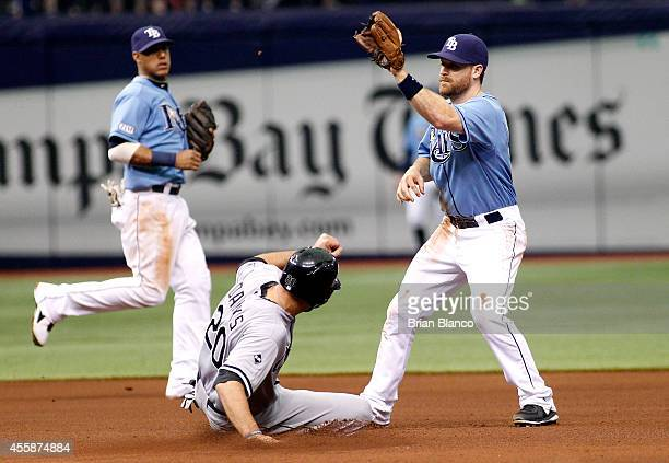 Jordan Danks of the Chicago White Sox steals second base ahead of second baseman Logan Forsythe of the Tampa Bay Rays during the fourth inning of a...