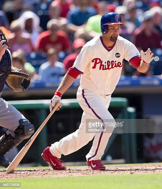Jordan Danks of the Philadelphia Phillies bats in the game against the Atlanta Braves on August 2 2015 at the Citizens Bank Park in Philadelphia...