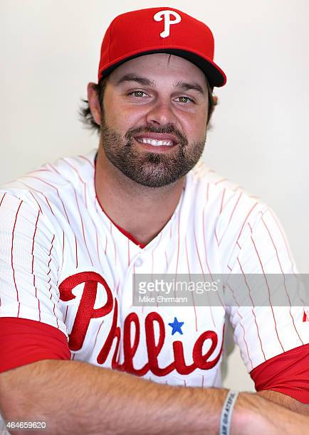 Jordan Danks of the Philadelphia Phillies poses for a portrait during photo day at Brighthouse Stadium on February 27 2015 in Clearwater Florida