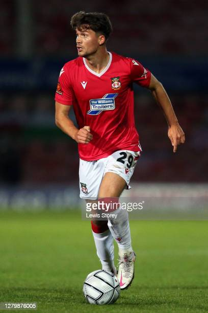 Jordan Davies of Wrexham in possession during the Vanarama National League match between Wrexham and Maidenhead United at The Racecourse Ground on...