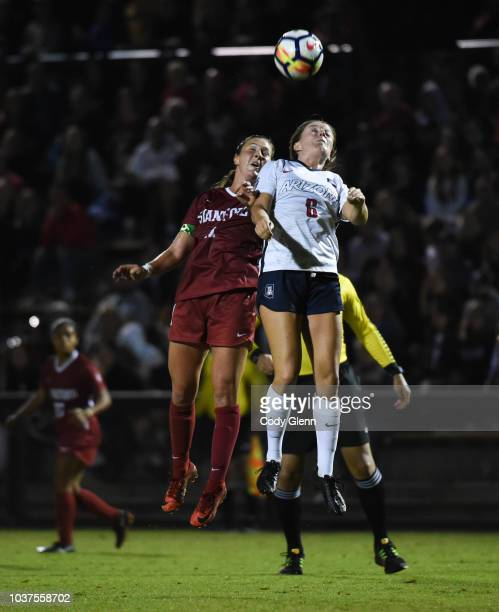 Jordan DiBiasi of Stanford University in action against Kelcey Cavarra of University of Arizona at Laird Q Cagan Stadium on September 21 2018 in...