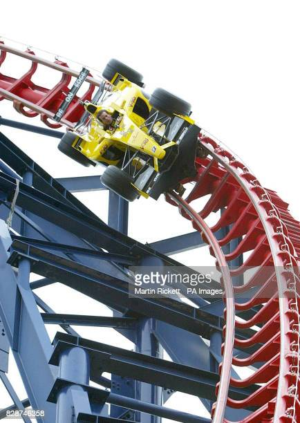 Jordan driver Ralph Firman rides the Big One rollercoaster in a Formula One car at Blackpool Pleasure Beach where a new Grand Prix ride was being...