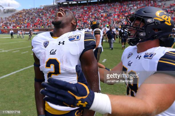 Jordan Duncan of the California Golden Bears celebrates a win after a game against the Mississippi Rebels at VaughtHemingway Stadium on September 21...