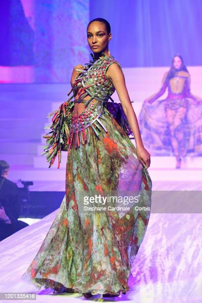 Jordan Dunn walks the runway during the Jean-Paul Gaultier Haute Couture Spring/Summer 2020 show as part of Paris Fashion Week at Theatre Du Chatelet...