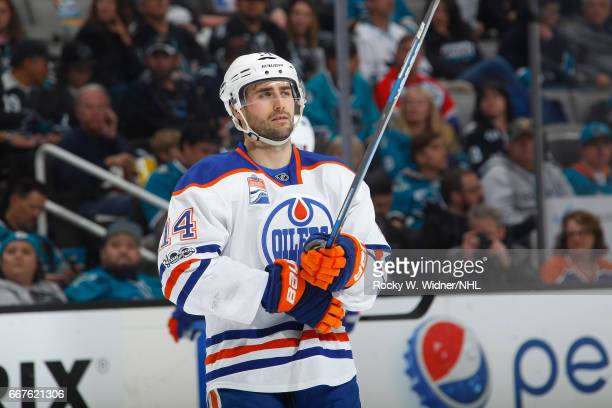 Jordan Eberie of the Edmonton Oilers looks on during the game against the San Jose Sharks at SAP Center on April 6 2017 in San Jose California