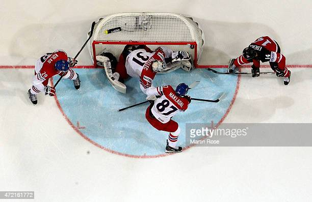Jordan Eberle of Canada scores his team's opening goal during the IIHF World Championship group A match between Canada and Czecg Republic at o2 Arena...