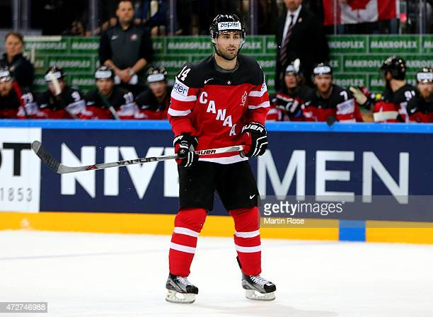Jordan Eberle of Canada skates against France during the IIHF World Championship group A match between France and Canada at o2 Arena on May 9 2015 in...