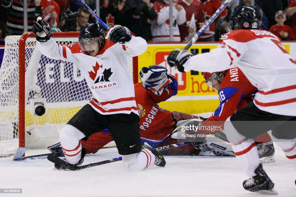Jordan Eberle #14 of Team Canada reacts after having scored the tying goal on Vadim Zhelobnyuk #1 of Team Russia forcing overtime during the semifinals at the IIHF World Junior Championships at the Ottawa Civic Centre on January 03, 2009 in Ottawa, Ontario, Canada. Team Canada defeated Team Russia 6-5 in a shootout.