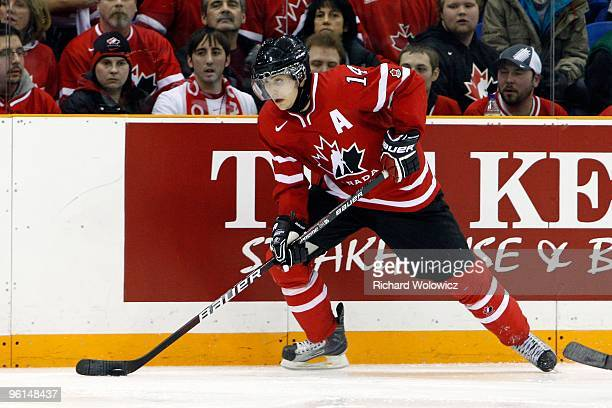 Jordan Eberle of Team Canada skates with the puck during the 2010 IIHF World Junior Championship Tournament Gold Medal game against Team USA on...