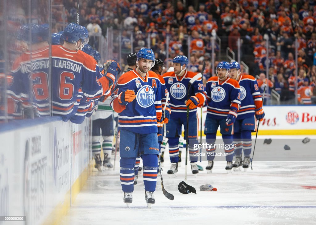 Jordan Eberle #14 of the Edmonton Oilers celebrates a hat trick against the Vancouver Canucks on April 9, 2017 at Rogers Place in Edmonton, Alberta, Canada. The Oilers won 5-2.