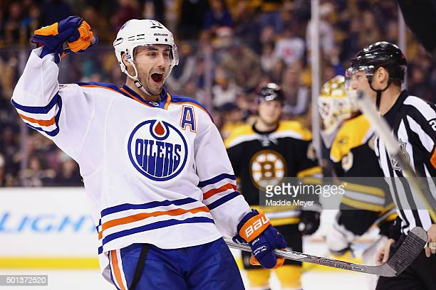 Jordan Eberle of the Edmonton Oilers celebrates after Andrej Sekera scored a goal during the ovetime at TD Garden on December 14 2015 in Boston...