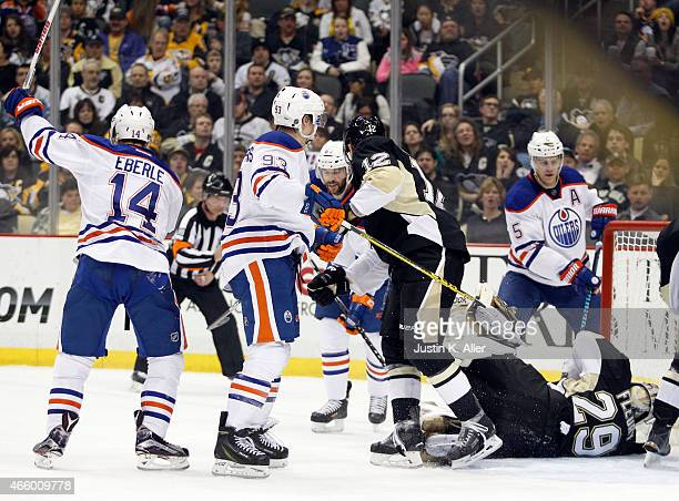 Jordan Eberle of the Edmonton Oilers celebrates his second period goal against the Pittsburgh Penguins during the game at Consol Energy Center on...