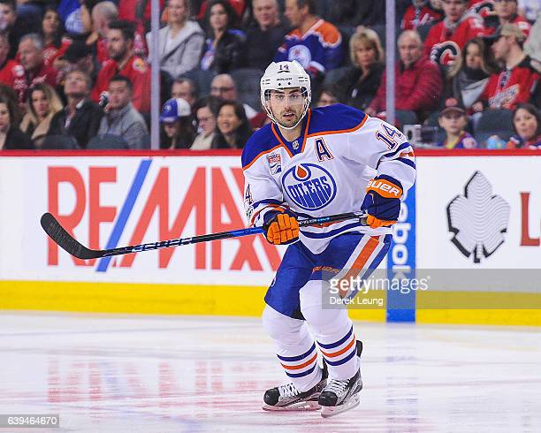 Jordan Eberle of the Edmonton Oilers in action against the Calgary Flames during an NHL game at Scotiabank Saddledome on January 21 2017 in Calgary...