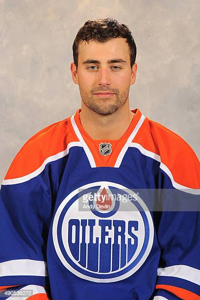 Jordan Eberle of the Edmonton Oilers poses for his official headshot for the 20152016 season on September 17 2015 at the Rexall Place in Edmonton...
