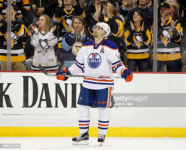 Jordan Eberle of the Edmonton Oilers reacts after a third period goal by Patric Hornqvist of the Pittsburgh Penguins during the game at Consol Energy...