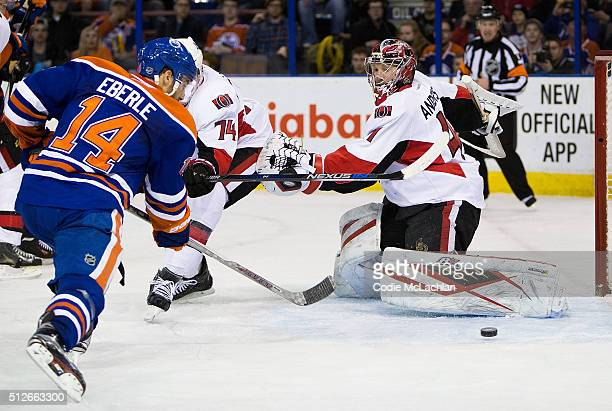 Jordan Eberle of the Edmonton Oilers scores a goal on goaltender Craig Anderson of the Ottawa Senators on February 23 2016 at Rexall Place in...