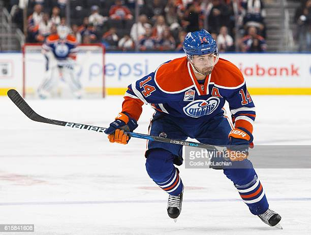 Jordan Eberle of the Edmonton Oilers skates against the Buffalo Sabres on October 16 2016 at Rogers Place in Edmonton Alberta Canada