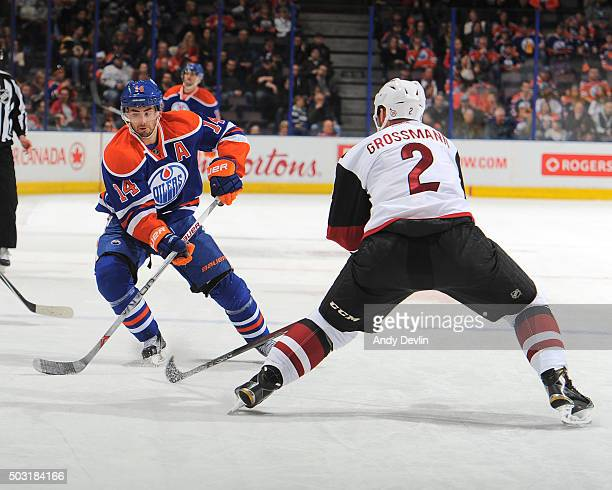 Jordan Eberle of the Edmonton Oilers skates during a game against the Arizona Coyotes on January 2 2016 at Rexall Place in Edmonton Alberta Canada