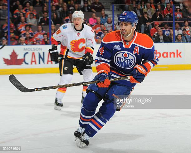 Jordan Eberle of the Edmonton Oilers skates during a game against the Calgary Flames on April 2 2016 at Rexall Place in Edmonton Alberta Canada