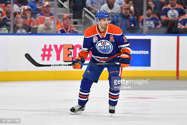 Jordan Eberle of the Edmonton Oilers skates during a preseason game against the Calgary Flames on September 26 2016 at Rogers Place in Edmonton...