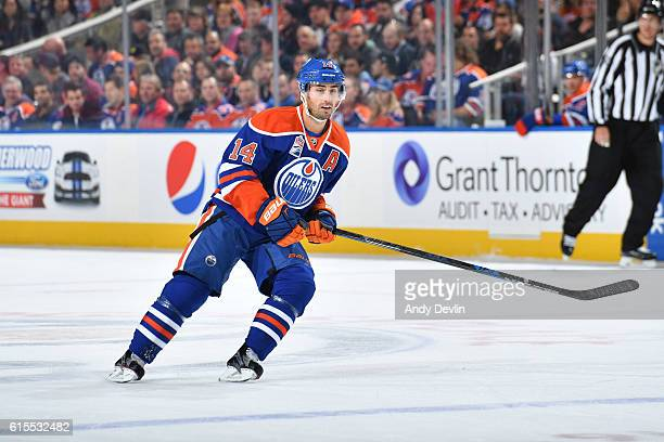 Jordan Eberle of the Edmonton Oilers skates during the game against the Carolina Hurricanes on October 18 2016 at Rogers Place in Edmonton Alberta...