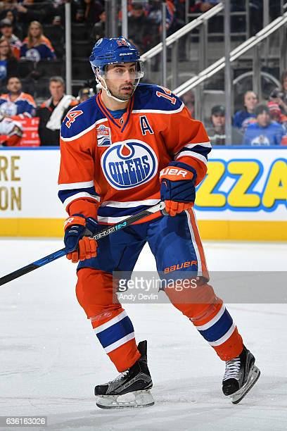 Jordan Eberle of the Edmonton Oilers skates during the game against the Anaheim Ducks on December 3 2016 at Rogers Place in Edmonton Alberta Canada