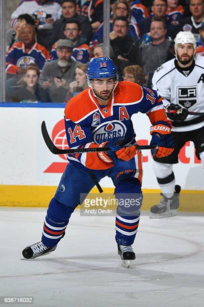 Jordan Eberle of the Edmonton Oilers skates during the game against the Los Angeles Kings on December 29 2016 at Rogers Place in Edmonton Alberta...