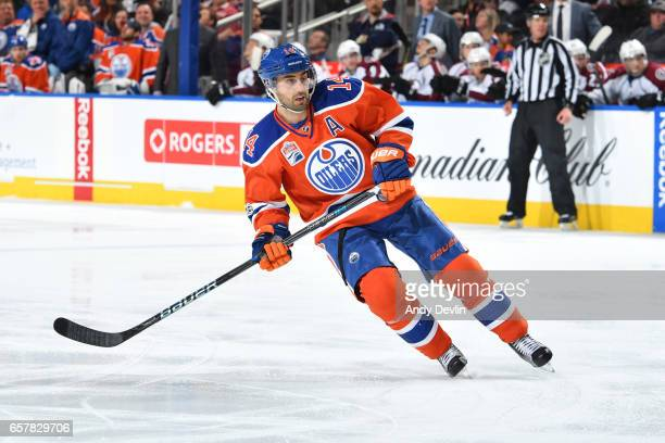 Jordan Eberle of the Edmonton Oilers skates during the game against the Colorado Avalanche on March 25 2017 at Rogers Place in Edmonton Alberta Canada