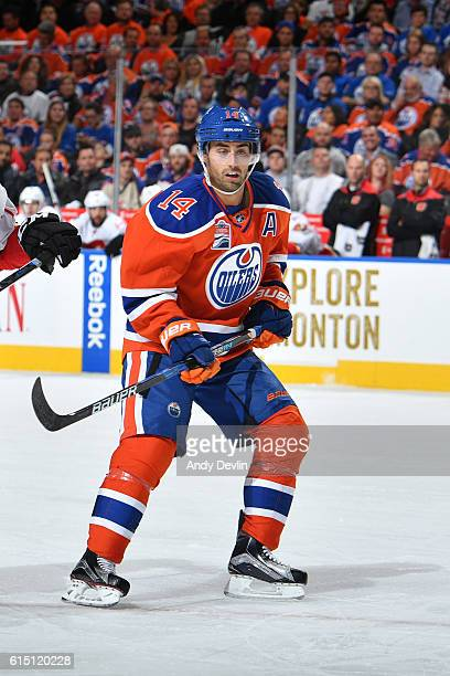 Jordan Eberle of the Edmonton Oilers skates on the ice during the season opener against the Calgary Flames on October 12 2016 at Rogers Place in...