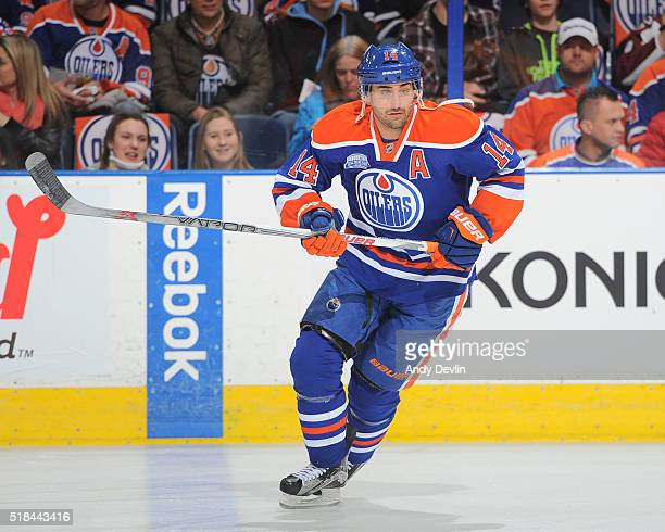 Jordan Eberle of the Edmonton Oilers warms up prior to the game against the Colorado Avalanche on March 20 2016 at Rexall Place in Edmonton Alberta...