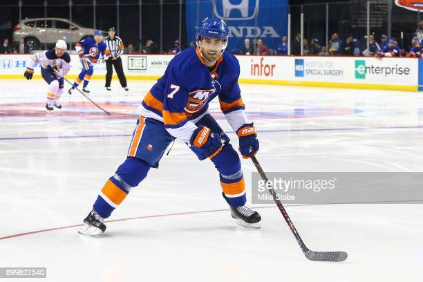 Jordan Eberle of the New York Islanders against the Buffalo Sabres at Barclays Center on December 27 2017 in New York City New York Islanders...
