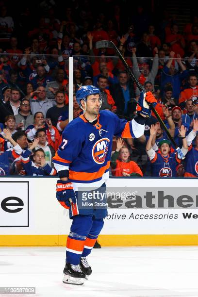 Jordan Eberle of the New York Islanders celebrates after being named a star of the game and his teams 31 win over the Pittsburgh Penguins in Game Two...