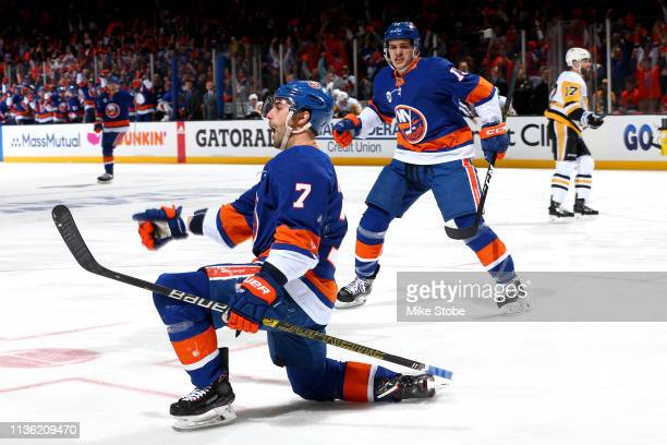 Jordan Eberle of the New York Islanders celebrates after scoring a first period goal against the Pittsburgh Penguins in Game One of the Eastern...