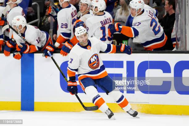 Jordan Eberle of the New York Islanders celebrates after scoring a goal against the Boston Bruins during the overtime shootout at TD Garden on...