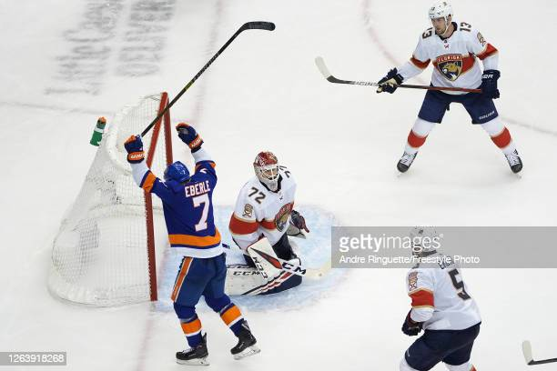 Jordan Eberle of the New York Islanders celebrates after scoring a goal on goalie Sergei Bobrovsky of the Florida Panthers during the third period in...