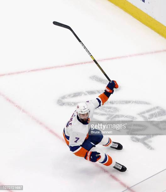 Jordan Eberle of the New York Islanders celebrates after scoring the gamewinning goal against the Tampa Bay Lightning during the second overtime...