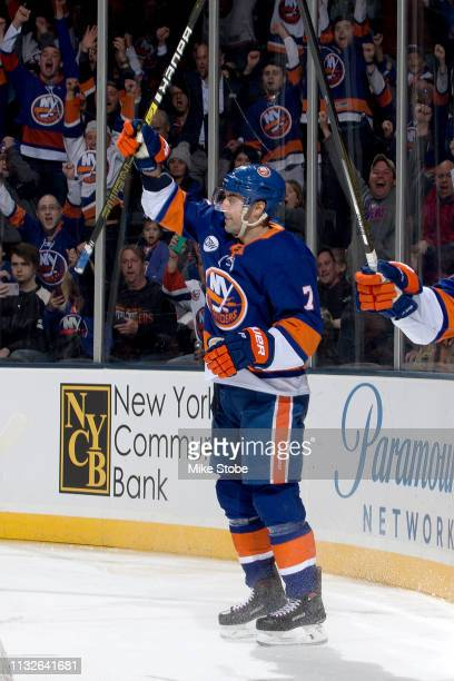 Jordan Eberle of the New York Islanders celebrates his first period goal against the Arizona Coyotes at NYCB Live's Nassau Coliseum on March 24 2019...