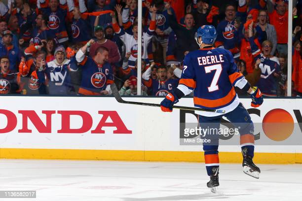 Jordan Eberle of the New York Islanders celebrates his third period goal against the Pittsburgh Penguins in Game Two of the Eastern Conference First...