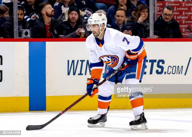 Jordan Eberle of the New York Islanders gets set for a first period faceoff against the Winnipeg Jets at the Bell MTS Place on December 29 2017 in...