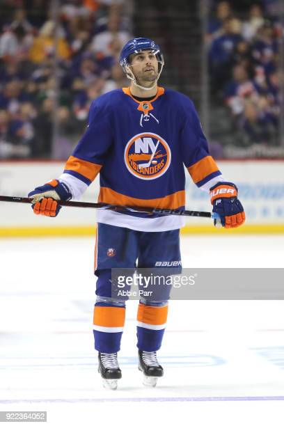 Jordan Eberle of the New York Islanders reacts after a goal by the Minnesota Wild in the second period during their game at Barclays Center on...