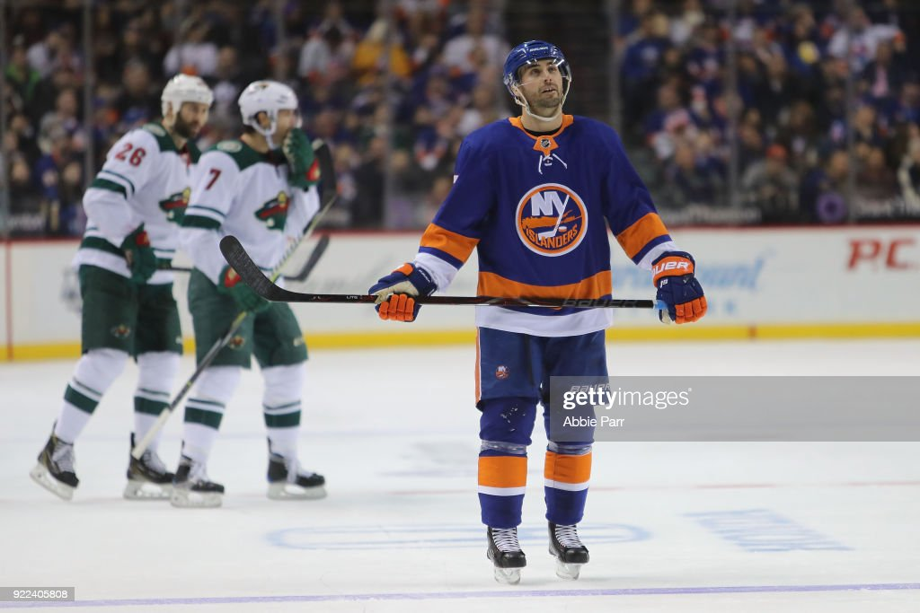 Jordan Eberle #7 of the New York Islanders reacts after a goal by the Minnesota Wild in the second period during their game at Barclays Center on February 19, 2018 in the Brooklyn borough of New York City.
