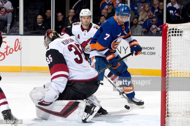 Jordan Eberle of the New York Islanders scores a first period goal against the Arizona Coyotes during the first period at NYCB Live's Nassau Coliseum...
