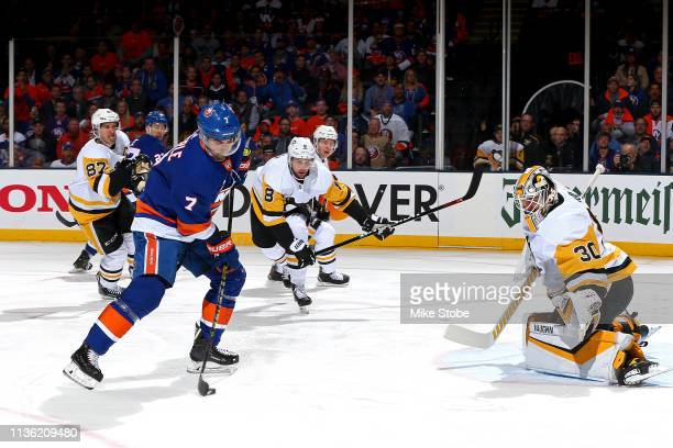 Jordan Eberle of the New York Islanders scores a first period goal past Matt Murray of the Pittsburgh Penguins in Game One of the Eastern Conference...