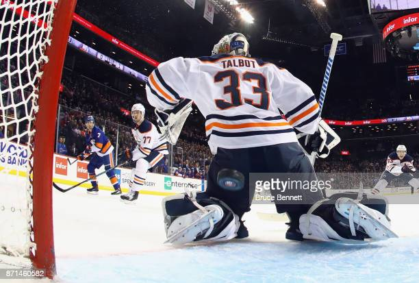 Jordan Eberle of the New York Islanders scores at 443 of the second period against Cam Talbot of the Edmonton Oilers at the Barclays Center on...