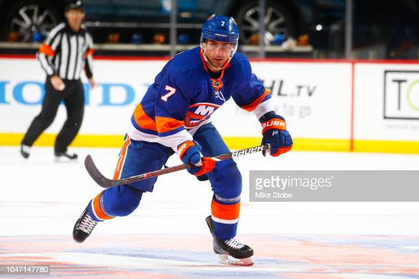 Jordan Eberle of the New York Islanders skates against the against the Nashville Predators at Barclays Center on October 6 2018 the Brooklyn borough...