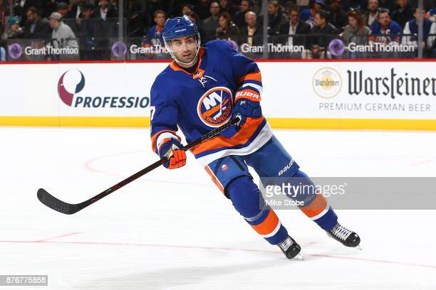 Jordan Eberle of the New York Islanders skates against the Carolina Hurricanes at Barclays Center on November 16 2017 in New York City New York...