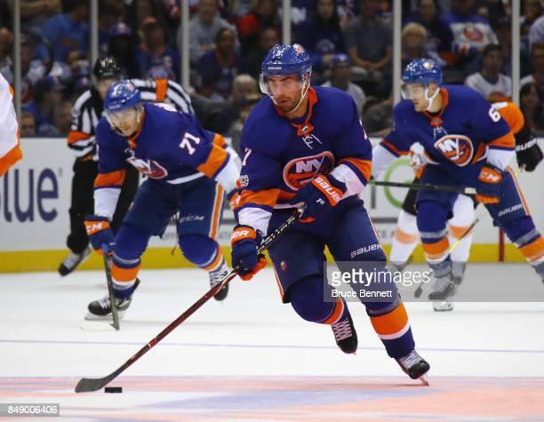 Jordan Eberle of the New York Islanders skates against the Philadelphia Flyers during a preseason game at the Nassau Veterans Memorial Coliseum on...