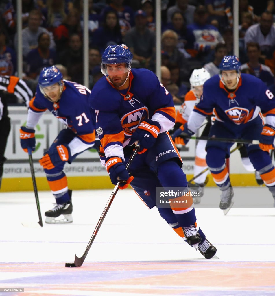 Jordan Eberle #7 of the New York Islanders skates against the Philadelphia Flyers during a preseason game at the Nassau Veterans Memorial Coliseum on September 17, 2017 in Uniondale, New York. The Islanders defeated the Flyers 3-2 in overtime.